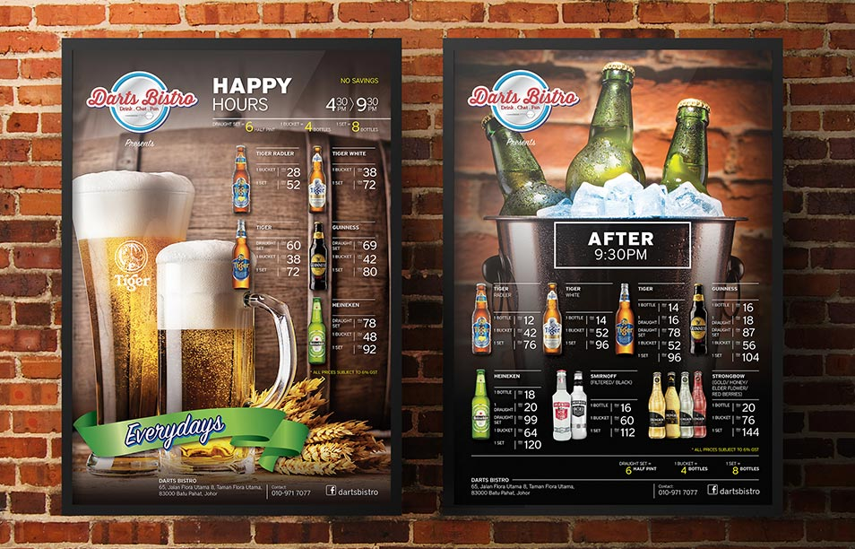 Darts Bistro & Sky Darts Bistro - Poster Design